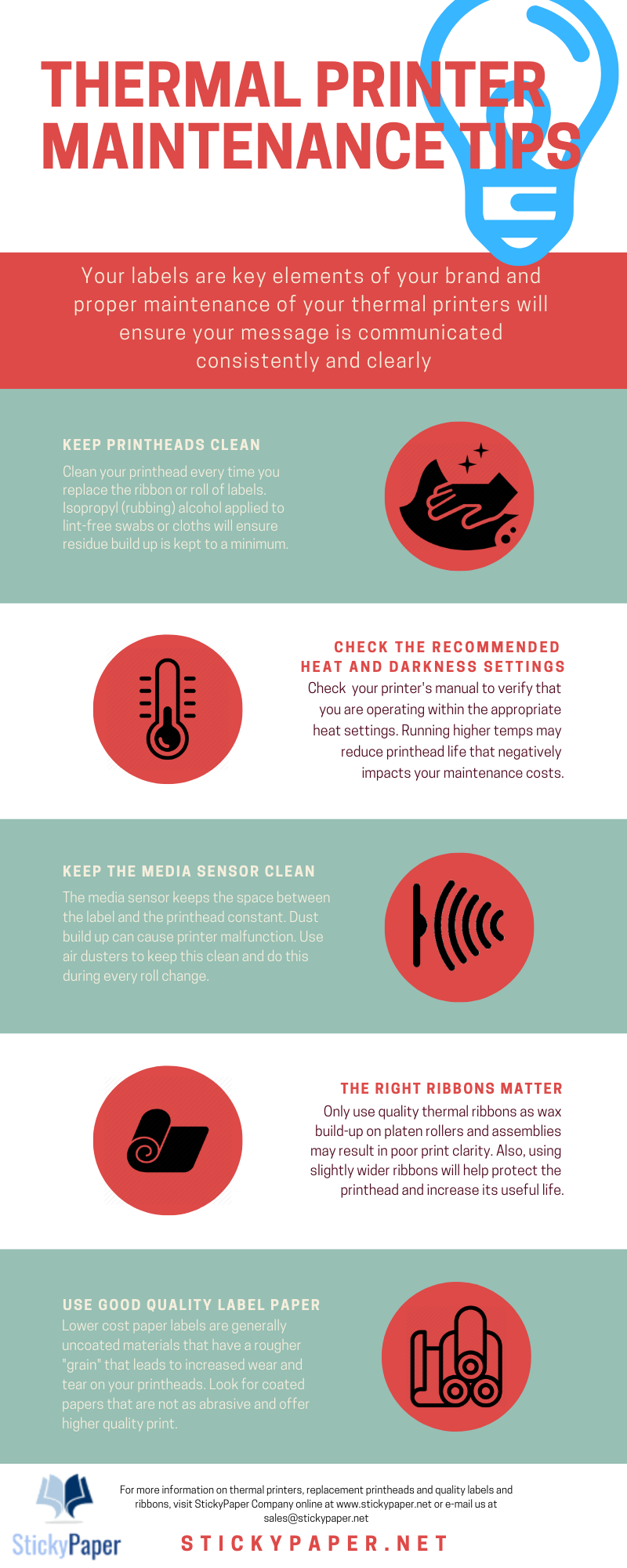 Infographic: Thermal Printer Maintenance Tips | StickyPaper Company